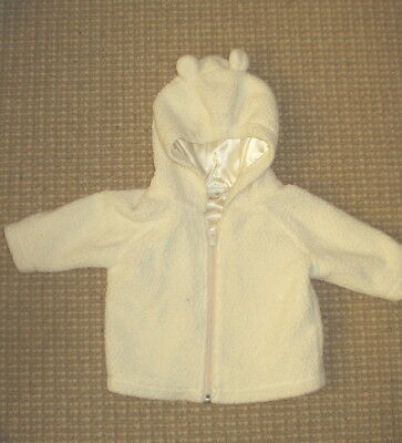 """Hanna Andersson White Baby Fleece Jacket with """"Ears,""""  Size 60 / 10 - 24 mo."""