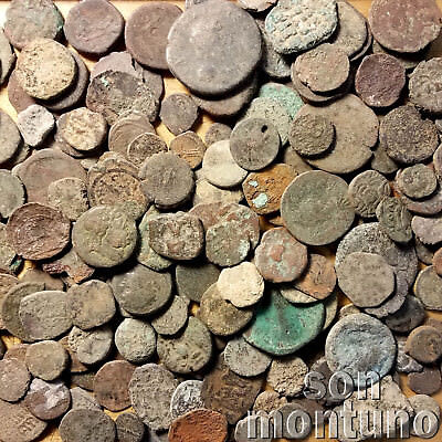 1 POUND MIX OF ANCIENT UNCLEANED COINS Roman Greek Byzantine Judaea Asian Indian