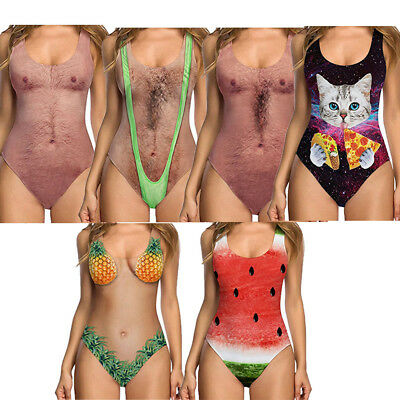 Funny Womens One-piece Swimsuit Swimwear Push Up Monokini Bathing Suit Bikini