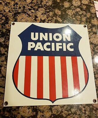 Union Pacific Railroad Rail Sign Porcelain Coated 8 1/2 X 8 1/2 Ande Rooney