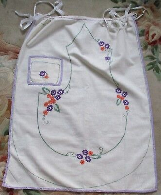 HAND EMBROIDERED MYART APRON No186.  FINISHED BUT NEVER USED