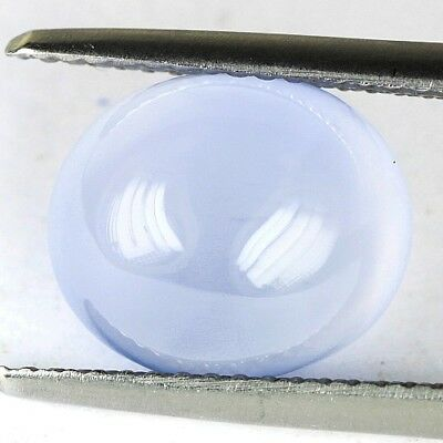 #*4.36 cts. 11.2 x 9.6 mm. UNHEATED NATURAL CABOCHON BLUE CHALCEDONY OVAL BRAZIL