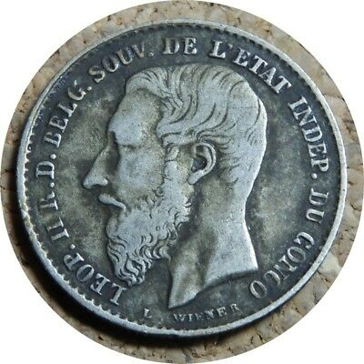 elf Congo Free State 50 Centimes 1896 Silver