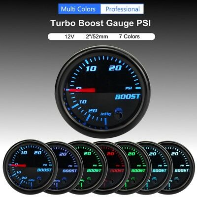 2'' 52mm Car 7 Color LED Turbo Boost PSI Pressure Vacuum Pointer Gauge Meter 12V