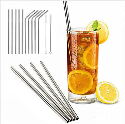 10 Pcs Stainless Steel Straw Reusable Drinking Straw with 2 Cleaning Brush Straw