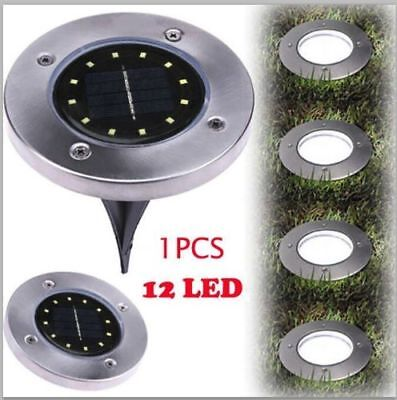 12LED Solar Power Disk Lights Buried Light Outdoor Under Ground Waterproof Lamp