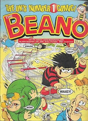THE BEANO No.3044 Nov 18th. 2000 THE UK'S NUMBER 1 COMIC Pre-Owned