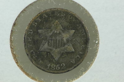 1852 3 Cent Silver Piece VG Scratches