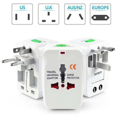 Universal Travel Adapter Wall Charger 2 USB AU UK US EU AC Power Plug Converter