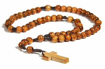 Olive Wood Rope Twine Rosary Cross with Velvet Pouch Hand Made Bethlehem BROWN