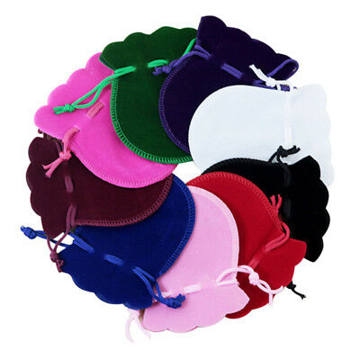 10PCS Portable Velvet Flocking Drawstring Pouch Coin Jewelry Wedding Gift Bags R