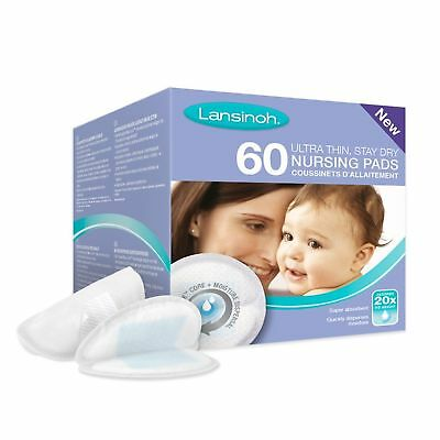 Lansinoh Breast Pads 60 Disposable Nursing *New Blue Lock Feature* - Best price