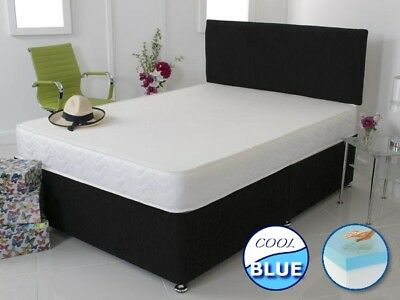 Memory Foam Divan Bed Set - Cool Blue Mattress And Headboard