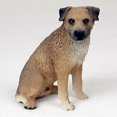 BORDER TERRIER Dog HAND PAINTED FIGURINE Resin Statue COLLECTIBLE puppy