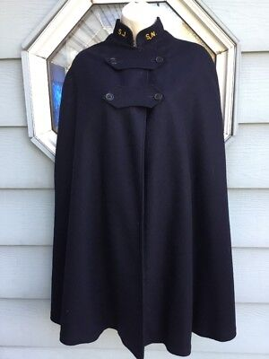 Vintage WWII Nurses Cape Navy Blue Wool US Army Uniform Red Lining Snowhite
