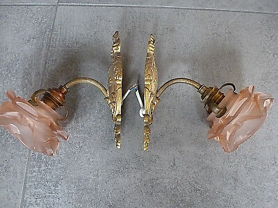 Original 2 x Wandlampe  Rose Glas Jugendstil art nouveau Lampe Messing Art deco