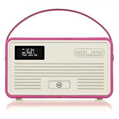 VQ Retro Mk II DAB+ with FM, Bluetooth, Apple Lightning Dock & Alarm - Pink