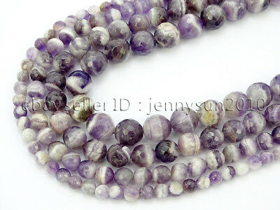Natural Dog Tooth Amethyst Gemstone Faceted Round Beads 15'' 4mm 6mm 8mm 10mm