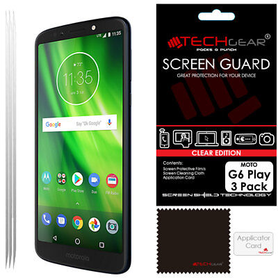 3 Pack of TECHGEAR Clear Screen Protector Covers for Motorola Moto G6 Play