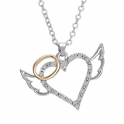Fashion Wing of Angel Heart Love Crystal Pendant Necklace Women MOM Jewelry Gift