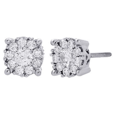 14K White Gold Solitaire Accent 7.5mm Round Diamond Flower Stud Earrings 3/4 Ct.