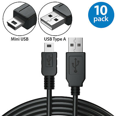 10x USB A to Mini 5pin Male Data Sync Charger Cable for GPS Camera PS3 Speakers