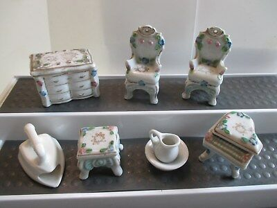 Lot Vintage Ceramic Occupied Japan Doll House Furniture Trinket Box Piano