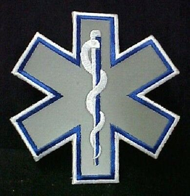 Reflective Star of Life Emblem Patch 4 Inch EMT EMS Embroidered Sew on Arm Chest