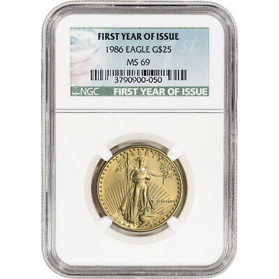 1986 American Gold Eagle 1/2 oz $25 - NGC MS69 First Year of Issue Label