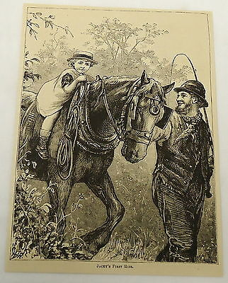 1882 magazine engraving ~ MAN TAKES SMALL CHILD FOR FIRST RIDE ON HORSE