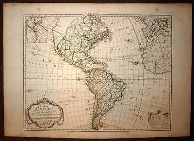 L'AMERIQUE GENERAL engraving card geographic antique GUILLAUME DELISLE 1785
