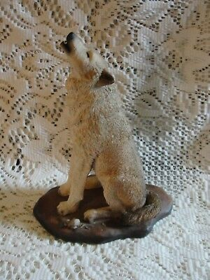 "WOLF FIGURINE 1992 By LIVING STONE WOLF SCULPTURE 8 1/2"" - LEADER OF THE PACK"
