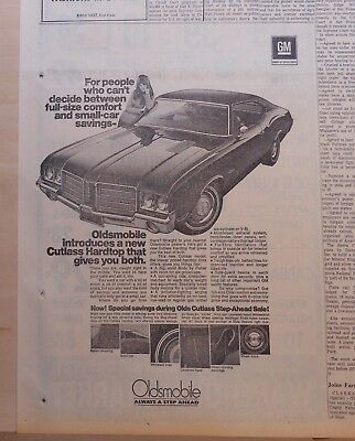 1971 newspaper ad for Oldsmobile - Cutlass Hardtop, features, full size comfort