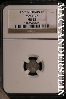 Great Britain: 1792 One Pence Maundy- Ngc-Ms63 !! Brilliant Unc!!  #sl15841