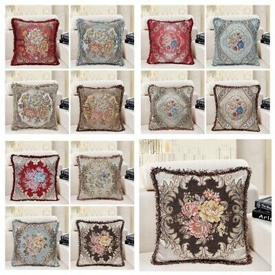 Brocade Vintage Jacquard Floral Throw PILLOW COVER Bed Sofa Cushion Case 18x18""