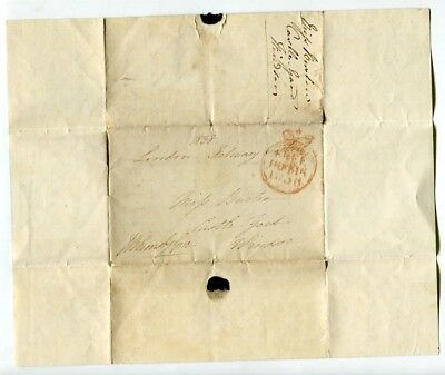 GB 1838 pre-stamp free frank Entire Cover with letter to Windsor