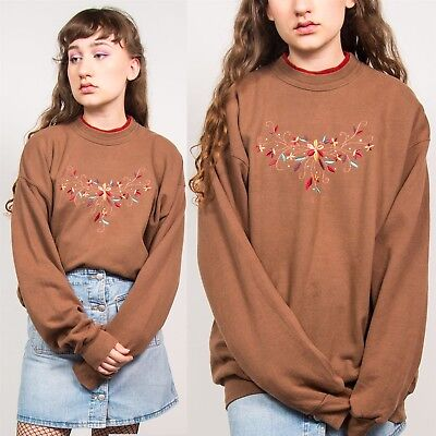 Vintage Brown Sweatshirt Nature Floral Embroidery Cute Diamante 90's Style 14 16