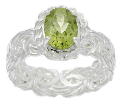 Silver Style Sterling Silver 1.00 Ct Peridot Byzantine Band Ring Size 6 Qvc