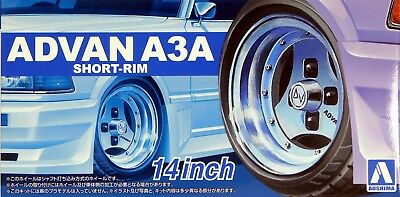 "Aoshima 1/24 Advan A3A Short Rim 14"" Wheel & Tire Set for Models 5546 (90)"