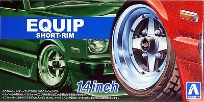 "Aoshima 1/24 Equip Short Rim 14"" Wheel & Tire Set for Models 5547 (91)"