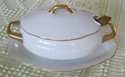 Lefton China White with Gold Trim Individual Lidded Dish #6156