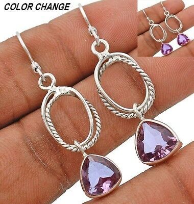"""3CT Color Changing Alexandrite 925 Sterling Silver Earrings Jewelry 1 7/8"""" Long"""