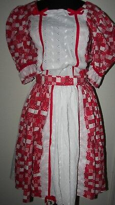 Red Paisley Check White Eyelet Boot 2 pc Dress Square Dance Western Rockabilly M
