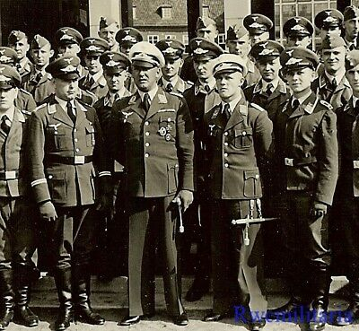 ELEGANT Decorated Luftwaffe Officers w/ Medals & Daggers Posed w/ Unit!!!