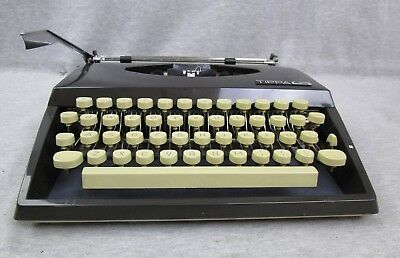 Vintage Adler Tippa S Brown Cursive Manual Typewriter w/ Case made in Holland