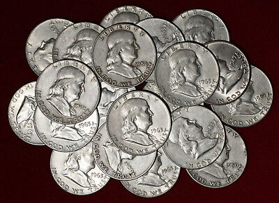 Lot of 20 Franklin silver Half Dollars mixed dates