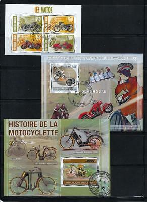 FS9508 3 Diff Souvenir Sheets of Early Motorcycles & Famous Riders Brando Gable