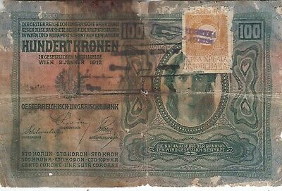 Banknote 1912 Austria 100 kronen used Croatia with revenue stamp at front
