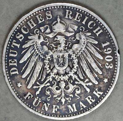 Germany-Prussia 1903-A 5 Mark Silver Coin