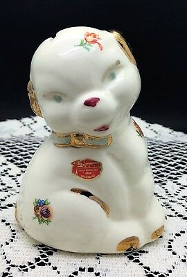"Shawnee Hand Decorated Gold Accented Dog Bank 78/250 - 5"" tall - no damage"